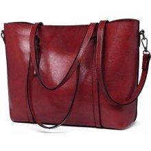Miss Lulu luxusní vínově červená kabelka z voskované kůže 6709 04e9eb055c0