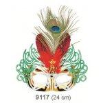 Plesová škraboška zlatá s červeným peřím