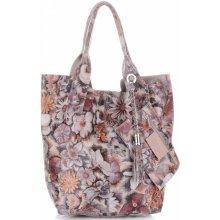 Vittoria Gotti Made In Italy módní kožená kabelka Shopperbag multicolor  růžová 9eea19730a2