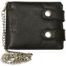 pánská kožená motorkářská peněženka s 45 cm dlouhým řetězem a karabinkou Černá