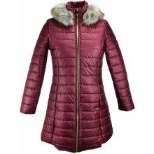 Italy dámský zimní prošívaný kabát s kožešinou vínová