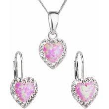 cd10d6c08 Evolution Group sada šperků se syntetyckým opálem a krystaly Swarovski  náušnice a přívěšek světle růžové srdce