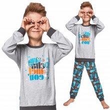 Pyžamo pro kluky s chameleonem Cornette Kids šedé