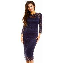 97628a24f9a Mayaadi společenské šaty krajkové s dlouhým rukávem středně dlouhé tmavě  modrá