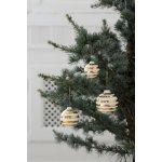 Kähler Keramické vánoční ozdoby Omaggio Gold - set 3 ks, zlatá barva, krémová barva, keramika
