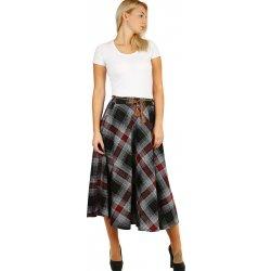 Glara kostkovaná dlouhá dámská zimní sukně červená alternativy ... dcf6d6077a