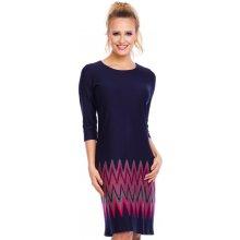 Společenské a plesové šaty značkové ANNA LE zdobené barevným vzorem 3/4 rukáv středně dlouhé tmavě modré