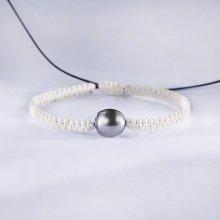 Klenota pletený náramek s Tahitskou perlou kln5179