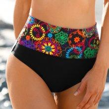 Blancheporte Plavkové kalhotky s potiskem rozet, s ohrnovacím páskem vícebarevná