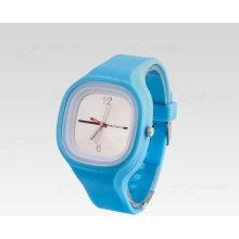 Silikon Watch Square světle modré s bílým ciferníkem