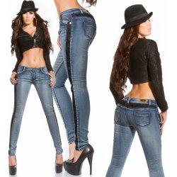 KouCla Dámské skinny džíny s krajkou po stranách 47d8200dae
