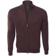 Armani Jeans elegantní svetr na zip od Hnědý