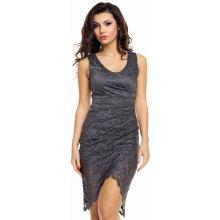 5735a2d48dbb MAYAADI společenské a plesové šaty krajkové s asymetrickou sukní tmavě šedá