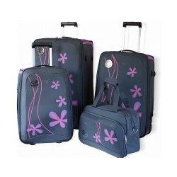 AIRTEX cestovní kufry na kolečkách + taška šedá s aplikací růžových květů 335a546ab4