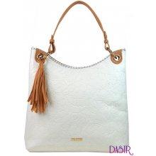 346aa1c77aefd moderní velká kabelka s potiskem květin 4257-TS bílá