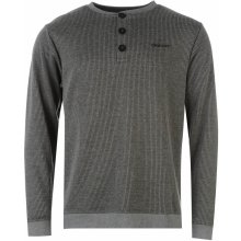 Donnay Ribbed Y Neck T Shirt Mens Charcoal Marl