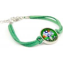 Murano náramek se skleněným medailonkem v chromu zelená Murrina 10002031101