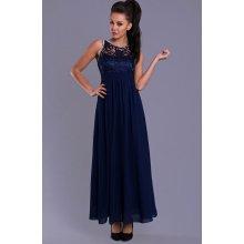 Eva   Lola dámské společenské šaty s krajkou a kamínky dlouhé tmavě modrá fb238f8065