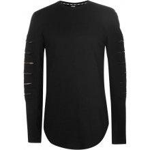 Fabric Split Long Sleeve T Shirt Mens Black