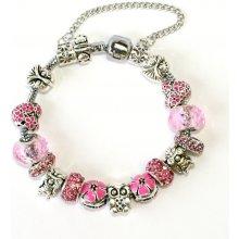 Fashion Jewerly Pandora růžová sova náramek 1231
