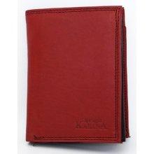 Červeno celá kožená pánská peněženka černá