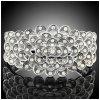 Luxusní stříbrný masivní dámský náramek bílý Swarovski krystal B1750