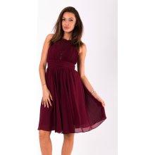 Dámské společenské šaty Louise bez rukávů s krajkou bordó 5709991cbb