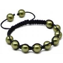 Náramek Shamballa se světlo zelené perly Swarovski Elements BMB10.43