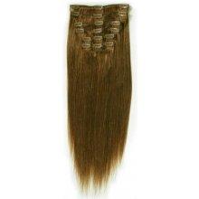 100 % lidské rovné vlasy 50 cm středně hnědá