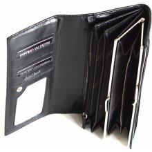 Valentini Dámská peněženka klasická na šířku s rámečkem kožená černá 19 x 2 x 10 SV00-563PL11-09KUZ