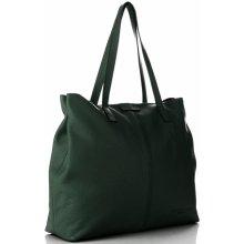 Vittoria Gotti univerzální kožená italská kabelka Lahvově zelená fadc9ee8c4e
