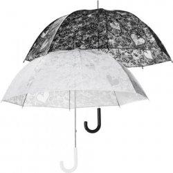 LACE dámský holový průhledný deštník s krajkovým potiskem černý