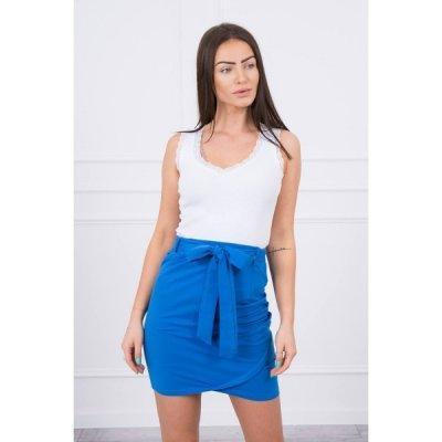 Dámska sukňa previazaná v páse MI8984 modrá