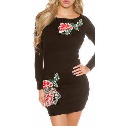 KouCla dámské úpletové šaty s květinovou aplikací černá od 809 Kč ... d44494d699