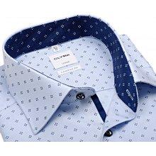Olymp Luxor Modern Fit – světle modrá košile s modrým vzorem a inverzním vnitřním límcem