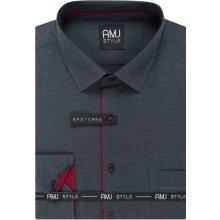 a85e5e897e7 Pánská košile AMJ tmavě šedá puntíkovaná VDSZ1025