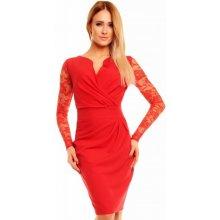 ffaa7813efa Kartes Moda šaty KM56K-2 s obálkovým výstřihem červená