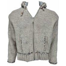 PACHAMAMA pánský svetr na zip s kapucí šedý
