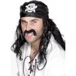 černý pirátský šátek s lebkou