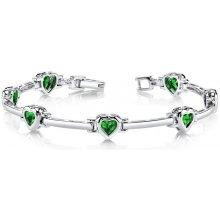 Eppi Srdíčkové smaragdy ve stříbrném náramku Caren BR33013