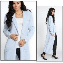 Fashionweek Neobvyklý pletený svetr kabát s kapucí MAXI Lux Blankyt 386bff0fc4