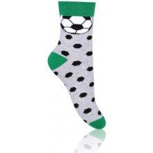 STEVEN Chlapecké ponožky s fotbalovým míčem zeleno-černé