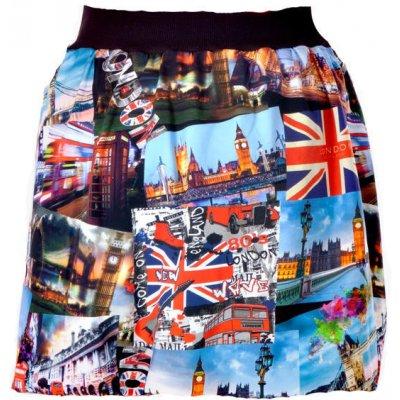 Barevná balounová sukně Izabell s potiskem Londýna