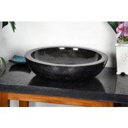 Umyvadla Kamenné umyvadlo - černý leštěný mramor DIVERO OEM D06132