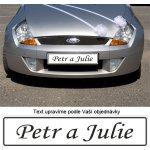 Svatební SPZ s textem na přání MONOTYPE - Jména (1 ks)