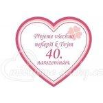 c93da009101 srdíčková visačka na dárek - Přejeme všechno nejlepší k 40 narozeninám