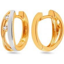iZlato Design zlaté dvoubarevné náušnice s diamanty Xavierra DB0126 91296957a28