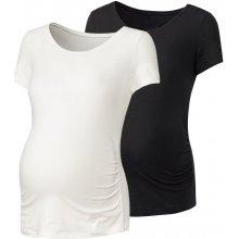 Esmara těhotenské triko Bio 2 kusy bílá/černá