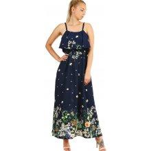 0f654870c360 YooY dámské letní dlouhé šaty s potiskem 336798 tmavě modrá