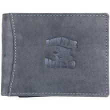 Born to be wild šedá kožená peněženka se žralokem se zipem v přihrádce na bankovky